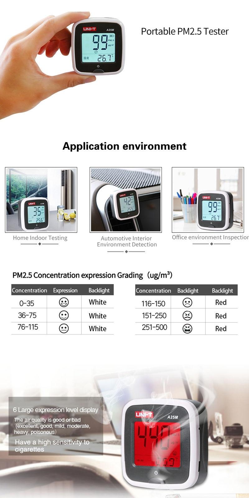 کیفیت سنج هوا محیطی دیجیتالی یونیتی مدل UNI-T A25M
