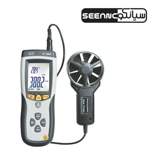 سرعت سنج باد سنسور مجزا با اندازه گیری فلو هوا و دماسنج لیزری CEM DT-8894