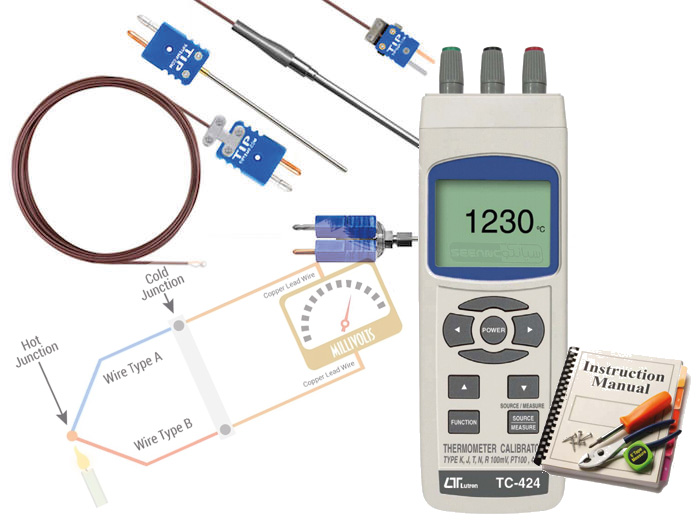 راهنمای کاربری کالیبراتور دماسنج های تماسی و ترموکوپل مدل LUTRON TC-424