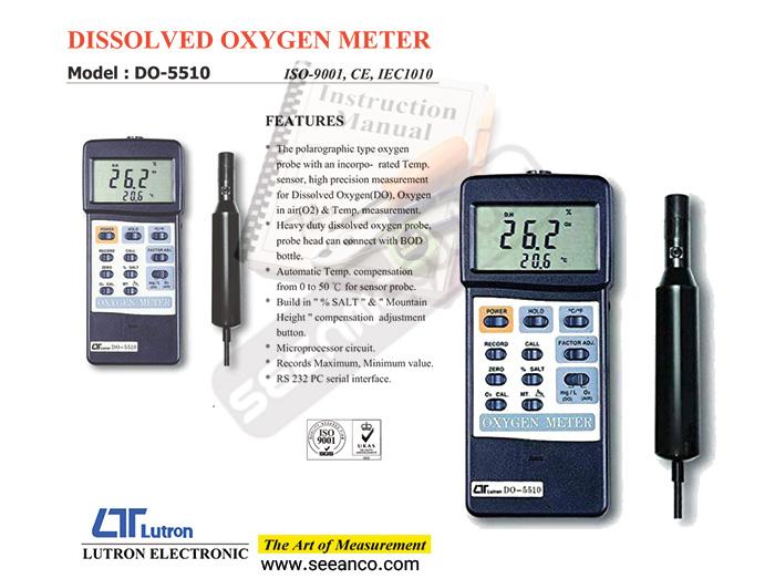 راهنمای کاربری فارسی اکسیژن متر LUTRON DO-5510